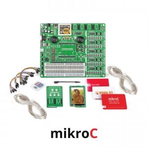 mikroLAB arenduskomplekt mikromedia PIC18FJ displeile, mikroC kompilaatoriga