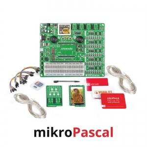 mikroLAB arenduskomplekt mikromedia PIC18FJ displeile, mikroPascal kompilaatoriga