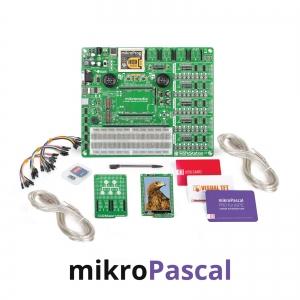 mikroLAB arenduskomplekt mikromedia PIC24 displeile, mikroPascal kompilaatoriga