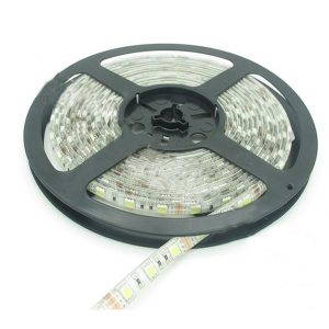 LED riba 5m; 300 dioodi; 5060; valge 6000K; 12V; 120°; silikoon kate