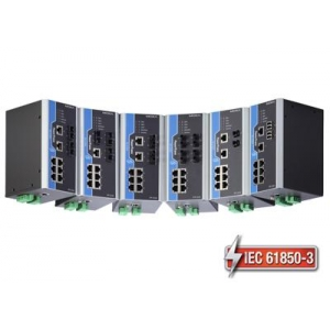 IEC 61850-3 switch DIN-liistule: 8 x 10/100BaseT(X), 2 x 100BaseFX multi-mode ST, 1 x toiteplokk 24 VDC, -40 kuni 85°C