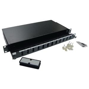 FO paneel 12xSC dupex liikuva riiuliga 19´´ 1U must adapterita