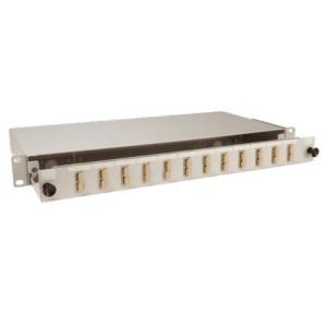 FO paneel 12xSC duplex liikuva riiuliga 19´´ 1U hall adapterita