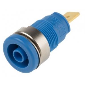 Banaanpesa, 4mm, isoleeritud, 1000V AC/DC, 32A, kullatud, sinine