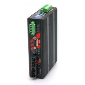 Tööstuslik konverter RS-232/422/485 > 2x Single Mode kuni 30km ST, -40°C kuni 75°C, 2.5kV isolatsiooniga