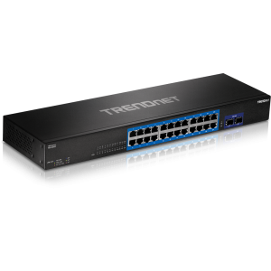 Switch: 24 x Gigabit, 2 x 10Gbps SFP+ (10-Gigabit), web smart, räkitav