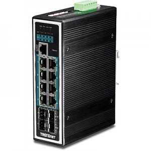 Tööstuslik PoE Switch: 12 porti, 8 x Gigabit PoE+, 4 x Gigabit SFP, 1 x RJ45 konsool, Layer 2 manageeritav, Din, IP30, -40 to 75 ºC, 240W