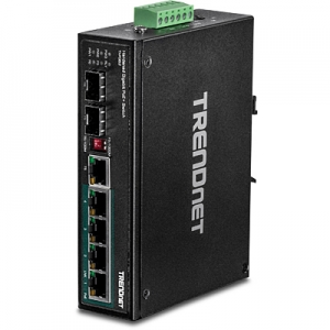 Tööstuslik PoE Switch: 6 porti - 4 x Gigabit PoE+,1 x Dedicated SFP ,1 x shared GB RJ-45/SFP Din-Rail, IP30, -40 to 75 ºC, 60-120W,