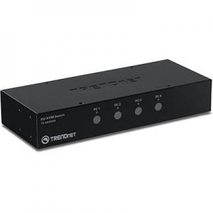 KVM switch: 4 porti, DVI, 4xUSB A, 4xUSB B, audio, mikrofon, kaablitega, kuni 2560x1600