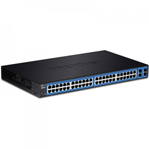 Switch: 48 x Gigabit, 4 x shared SFP, 1 x RJ-45 console, SNMP, RSTP, MSTP, Layer 2, räkitav