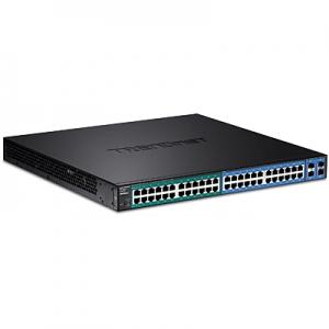 Switch: 24 x Gigabit, 24 x Gigabit PoE+, 4 x SFP, 1 x console, SNMP, RSTP, MSTP, Layer 2, räkitav