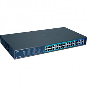 PoE Switch: 24 x 10/100Mbps PoE/PoE+, 4 x Gigabit, 2 x mini-GBIC, Web Smart, rackitav, 193W