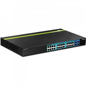 PoE Switch: 28-Port Gigabit Web Smart PoE+,4xPoE+, 20xPoE,4 x Mini-GBIC (SFP) pesa, räkitav