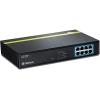 PoE Switch: 8 x 10/100Mbps PoE+, räkitav, 125W