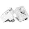 Powerline adapter: 1 x 10/100Mbps, 500Mbps, väga kompaktne, eraldi võrgupesaga, kahene komplekt