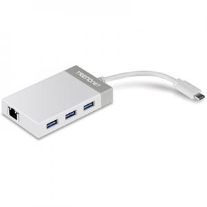 USB-C hub, 3xUSB 3.0 porti, 1xUSB-C pistik, 1xRJ45 Gigabit port, sobib ka Mac´ile