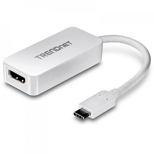 Konverter USB-C (M) - HDMI (F) 2160p@30Hz, kaabel 0.14m, valge