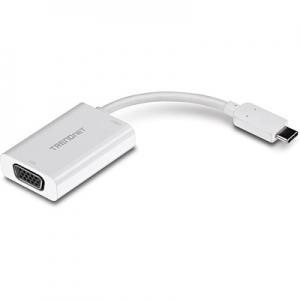 Konverter USB-C (M) - VGA (F) 1920x1200@60Hz, eraldi USB-C toide 0.1m, valge