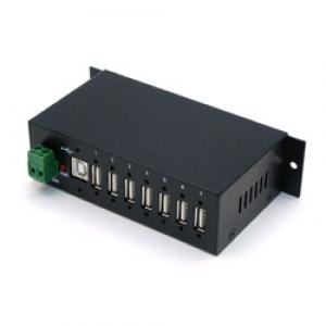 Tööstuslik USB 2.0 hub, 7 porti, kaablilukk