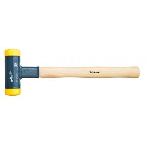 No-recoil soft-head hammer with hickory wooden handle.