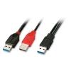 USB 3.0 Y-kaabel A (M) - 2 x A (M), 0.5m