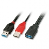 USB 3.0 Y-kaabel A (F) - 2 x A (M) 1.0m