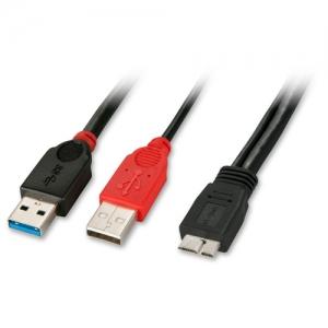 USB 3.0 Y-kaabel Micro B (M) - 2 x A (M) 0.5m