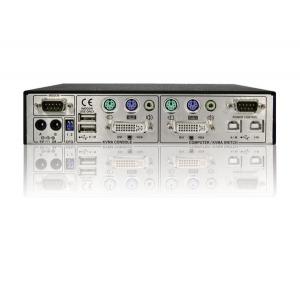 KVMi / Serveri juhtimine läbi IP (Real VNC protokoll) (DVI, PS/2, audio) + lokaalse konsooli (DVI, PS/2, USB, audio) võimalus