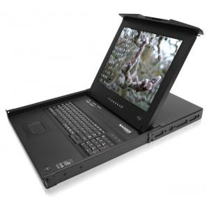 KVM switch: 16 porti, VGA, PS/2, USB, juhtimine läbi IP, UK layout´iga klaviatuur + monitor 19´´, räkitav 1U