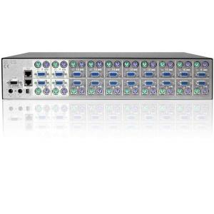 KVM switch: 16 porti, VGA, PS/2, 4 x kasutaja, integreeritud töökoha pikendaja kuni 200m läbi CATx